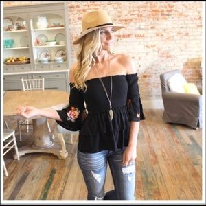 Tops - Black Embroidered Sleeve Tube Top